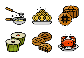 Chinese foods filled outline