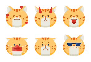 Chubby Cat Emoticons - BZZRICON Flat