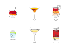 Cocktails flat color
