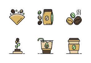 Coffee Shop With Color Iconset