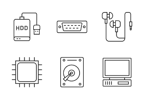 Computer Hardware (line, lineout, linear, outline style)