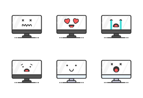 Computer Screen Emoji Set