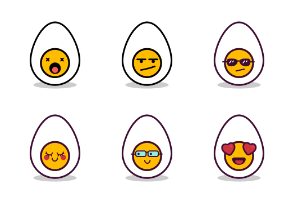 Cute Egg Emoji in Different Expressions
