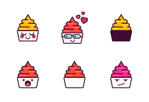 Cute Froyo Emoji in Different Expressions