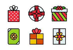 Cute present box and gift bag for Christmas holidays