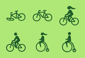 Cyclist / Bike Glyph icon collection