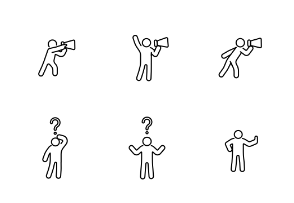 Debate and different gesture person line