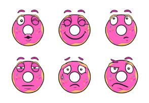 Donut Emoji Cartoons
