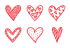 Doodle heart with patterns