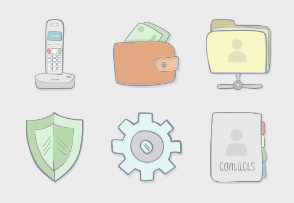 e-commerce - Hand Drawn Icons - Color