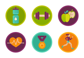 Fitness and health care flat badges