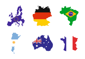 Flags of the world in map