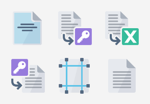 Flat Design - Word processing set 2