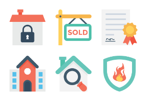 Flat Real Estate Icons