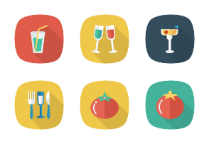 Food and Drinks Flat Square Rounded Shadow vol 4