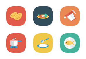 Food and Drinks Flat Square Rounded vol 3