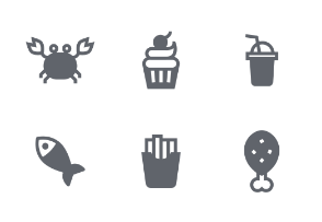 Food and Kitchen Fill icons set