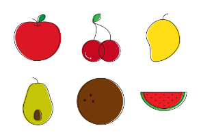 Colored in fruits