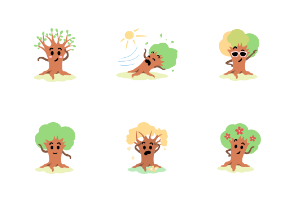 Funny tree character through seasons