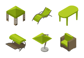 Garden and balcony furniture in isometric style