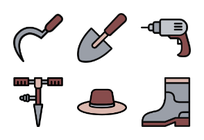 Gardening Tools - Filled Outline