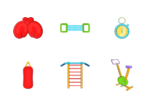 Gym icons set, cartoon style