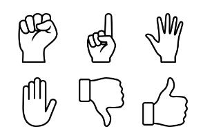 Hand Gestures Line Art