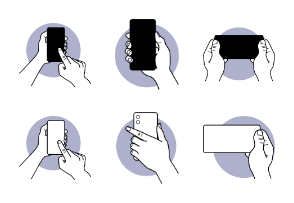 Hand holding and using smartphone phone