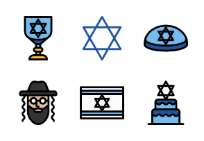 Hanukkah Jewish festival - Filled outline
