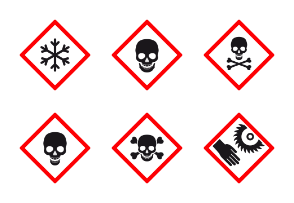Hazard warning. High quality danger symbols on red squares