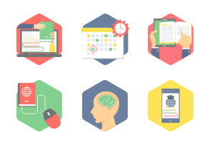 Hexagon Education Flat Icons part 3