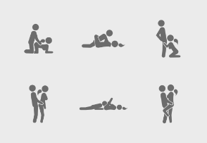 Icon set of sex positions