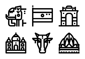 India landmark and culture outline
