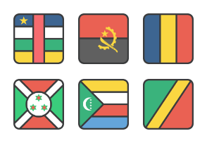 International Rounded Sqaure Flags