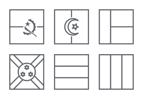 International Square Flags - Outline