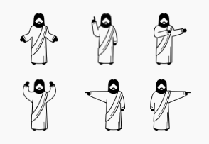 Jesus Christ Basic Poses, Postures, and Actions