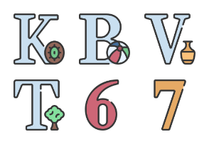 Letters Numbers And Symbols Soft Fill