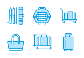 Luggage, Suitcases - Blue line
