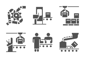 Mass production and modern machinery equipment. Glyph set