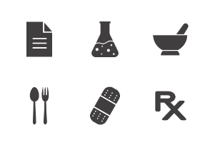 Medical set. Glyph. Silhouettes