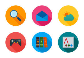 Device Apps & Settings II Flat (Multicolor Background & Shadow)