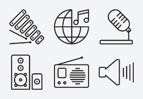 Musical Line Icons Set 1