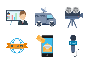 News and media icon set.