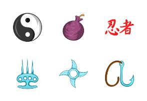 Ninja icons set, cartoon style