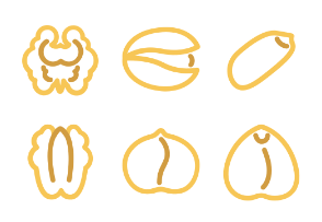 Сolorful signs of nuts types in line style