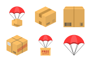 Parcel box delivery and shipping related (flat design)