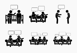 People Talking Chatting Conversation Communication Stick Figures