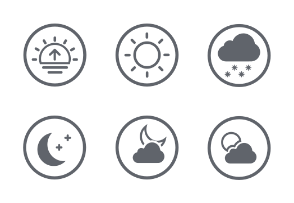 Weather Rounded White icons Set