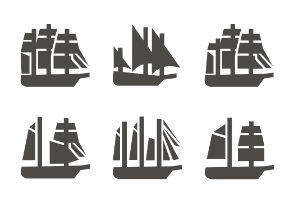 Sailing ships in glyph style