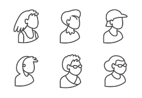Set of people's bust in isometric projection as users in line style